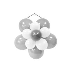 Kit décor rosace ballon mariage argent et blanc