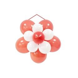 Kit décor rosace ballon mariage rouge et blanc