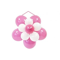 Kit décor rosace ballon mariage fuchsia et blanc