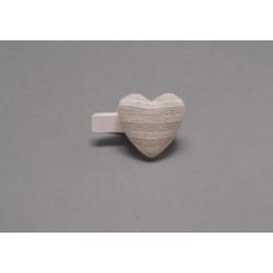 Set de 6 pinces coeur en lin 3.8x2.6cm