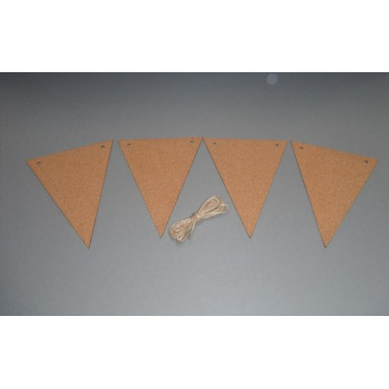 Guirlande 6 fanions liège 12x15cm , 2m
