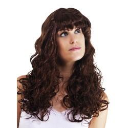 Perruque BETTY - longue ondulée avec frange - marron