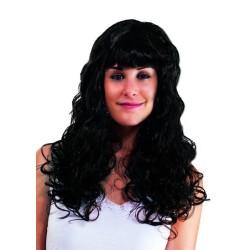 Perruque BETTY - longue ondulée avec frange - noir