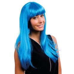 Perruque LOLA - longue raide à frange - turquoise