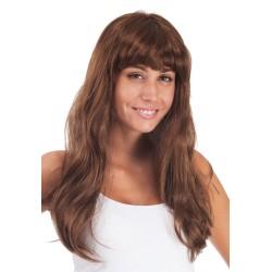 Perruque LOLA - longue raide à frange - marron