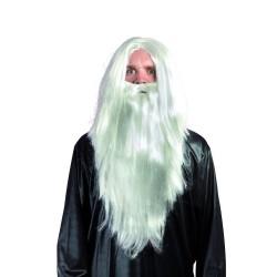 Perruque et barbe mage - blanc
