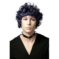 Perruque RUFUS - courte frisée - noir et violet