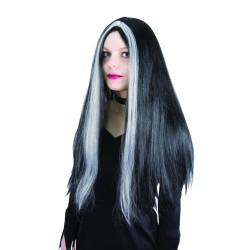 Perruque sorcière - noir - mèches blanches