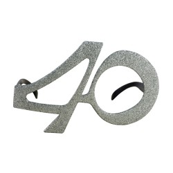 Lunettes plastique - âge - paillettes argent - 40