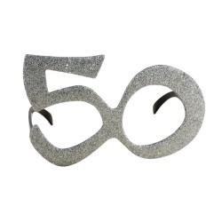 Lunettes plastique - âge - paillettes argent - 50