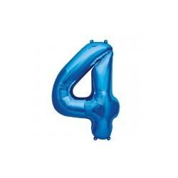 """chiffre ballon alu 86cm """"4"""" bleu"""