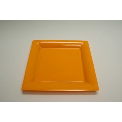 12 assiettes carrées 16.5 cm orange (mandarine)