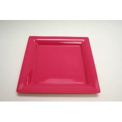 12 assiettes plastique carrées 16.5 cm fuchsia