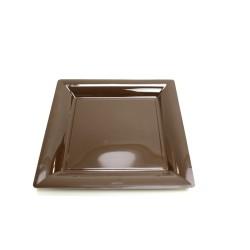 12 assiettes plastique carrées 16.5 cm chocolat