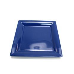 12 assiettes plastique carrées 16.5 cm bleu marine