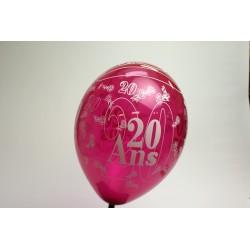 déco : ballons 30cm FUSHIA imprimés 20 ans (les 8)