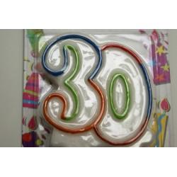 bougie anniversaire 30 ans noire et blanche