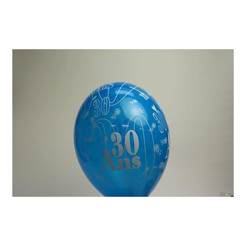 déco : ballons 30cm imprimés 30 ans (les 8) turquoise