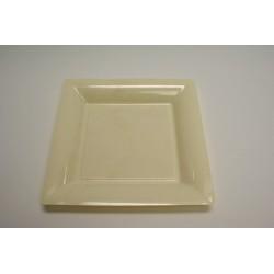 12 assiettes plastique carrées 16.5 cm ivoire