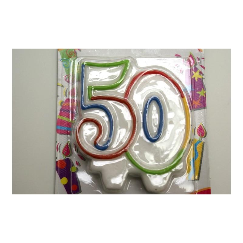 bougie anniversaire 50 ans noire/blanche