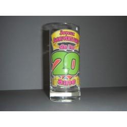 Verre joyeux anniversaire 20 ans