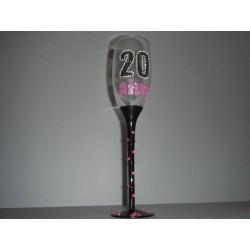 Flûte à champagne rose 20 ans