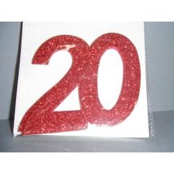 Chiffre 20 autocollant rouge x2