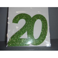 Chiffre 20 autocollant vert anis x2