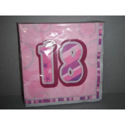 16 serviettes papier 18 ans bleues