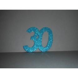 Chiffre 20 autocollant turquoise x2