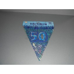 déco : guirlande 6m  de 15 fanions en plastique «chiffre 50» turquoise