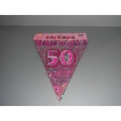 déco : guirlande 6m  de 15 fanions en plastique «chiffre 50» rose