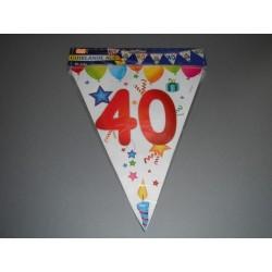 déco : guirlande multicolore 6m  de 15 fanions en plastique «chiffre 40»