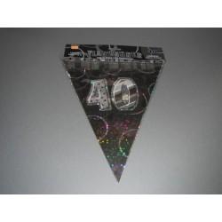 déco : guirlande festive noir/argent brillant 6m  de 15 fanions en plastique «chiffre 40»