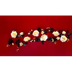 guirlande de 2m de roses jaune en soie