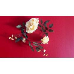 6 couronnes  de roses jaune en soie 20cm