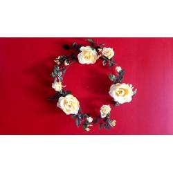 2 couronnes  de roses jaune en soie 35cm