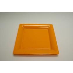 12 assiettes plastique carrées 21.5 cm orange (mandarine)