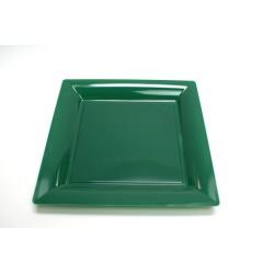 12 assiettes plastique carrées 21.5 cm vert sapin