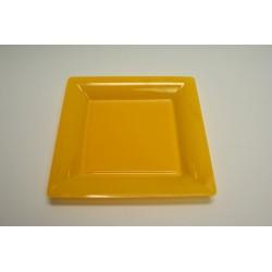 12 assiettes plastique carrées 21.5 cm jaune