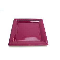 12 assiettes plastique carrées 30 cm violet