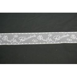 tulle floqué blanc «Felicidade» 40m x 8 cm