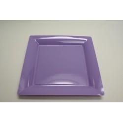 12 assiettes plastique carrées 30 cm parme