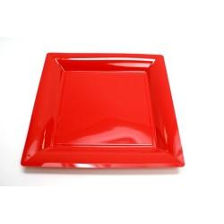 12 assiettes plastique carrées 30 cm rouge