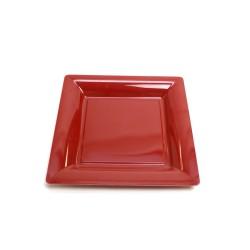 12 assiettes plastique carrées 30 cm bordeaux