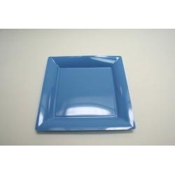 12 assiettes plastique carrées 30 cm bleu ciel
